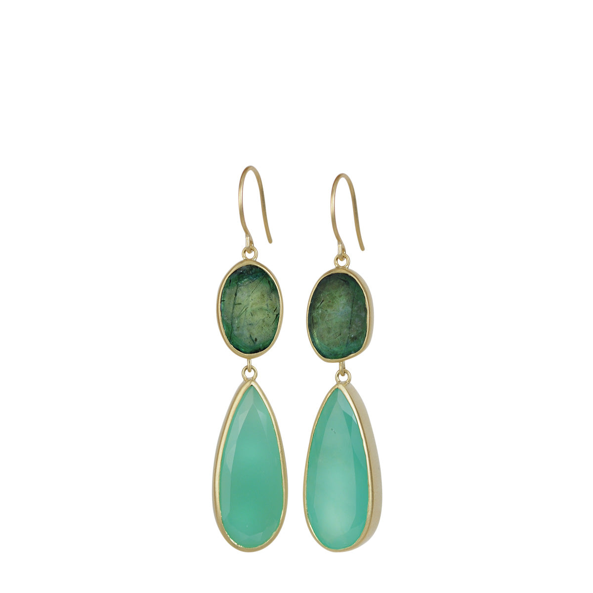 18K Gold Emerald and Chrysoprase Drop Earrings