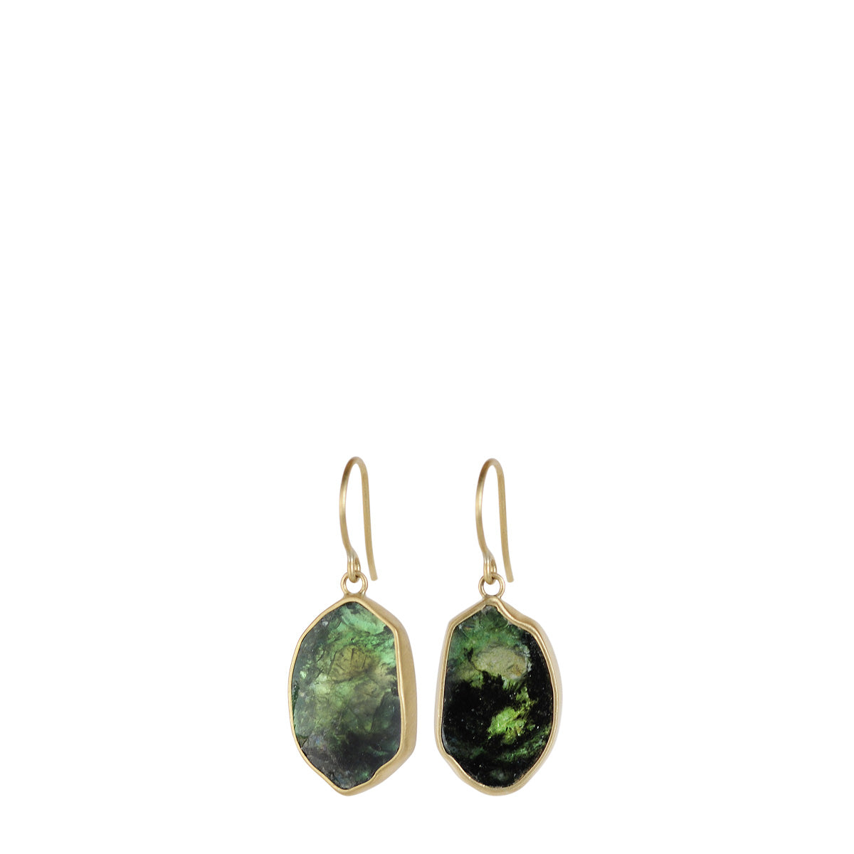 18K Gold Emerald Slice Earrings