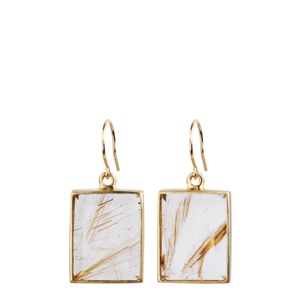 10K Gold Large Emerald Cut Rutilated Quartz Earrings