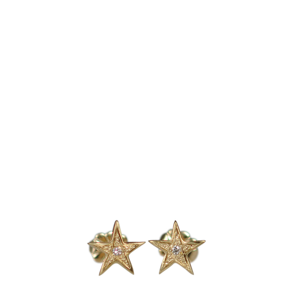 10K Gold Tiny Bombay Star Stud Earrings with Diamonds