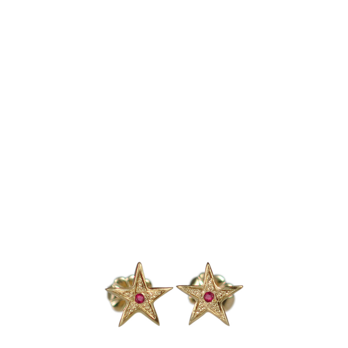 10K Gold Tiny Bombay Star Stud Earrings with Rubies