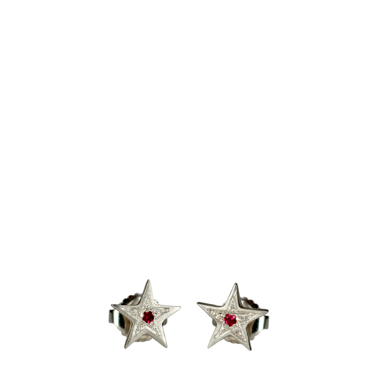 Sterling Silver Tiny Bombay Star Stud Earrings with Rubies
