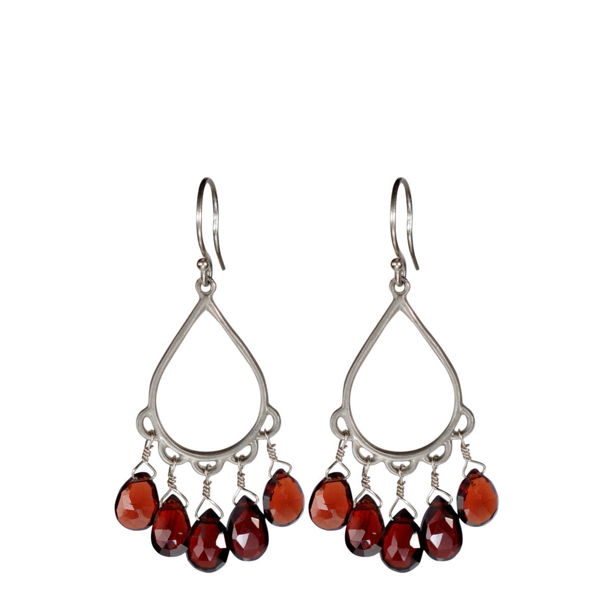 Sterling Silver Small Teardrop Earring with Garnet