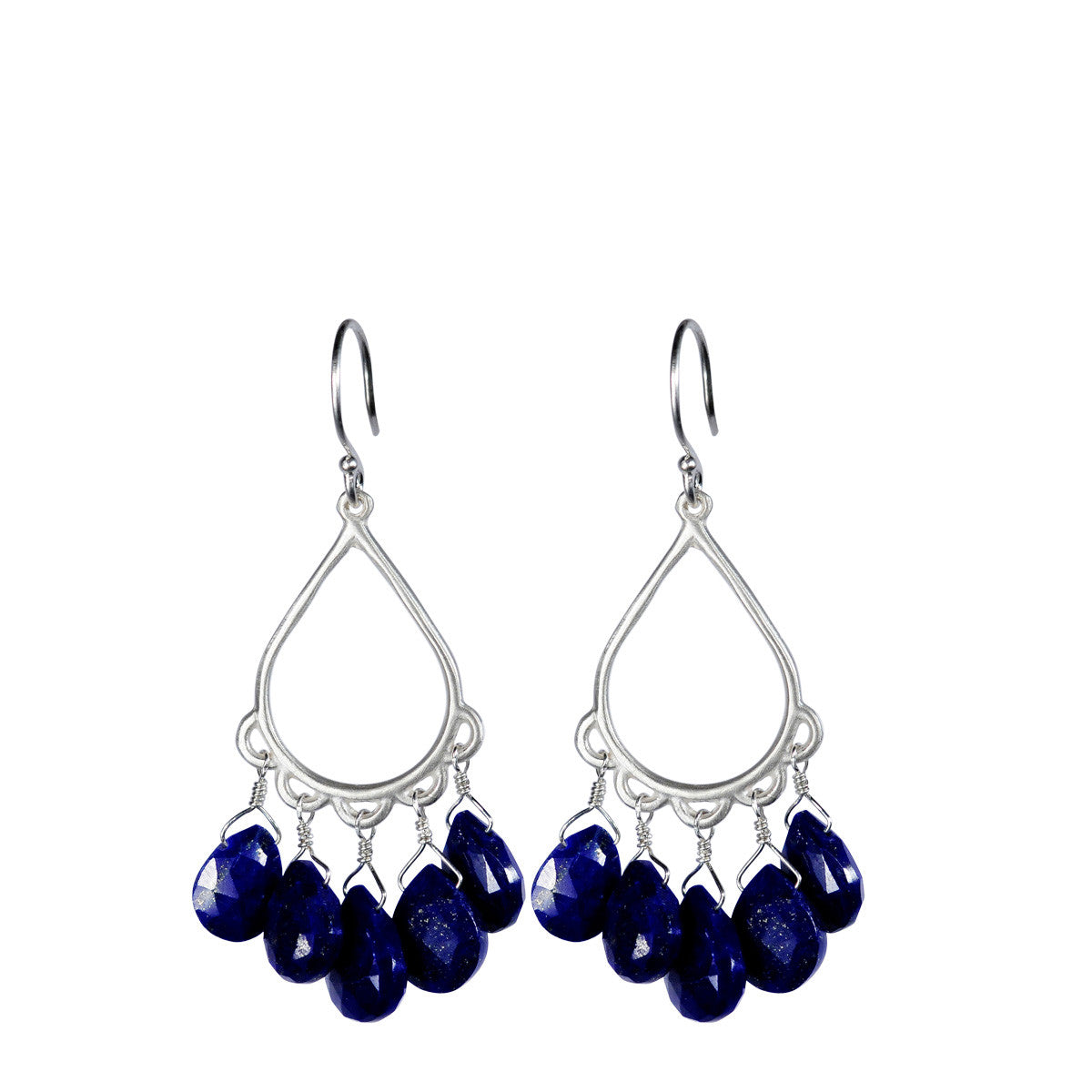 Sterling Silver Small Teardrop Earring with Lapis
