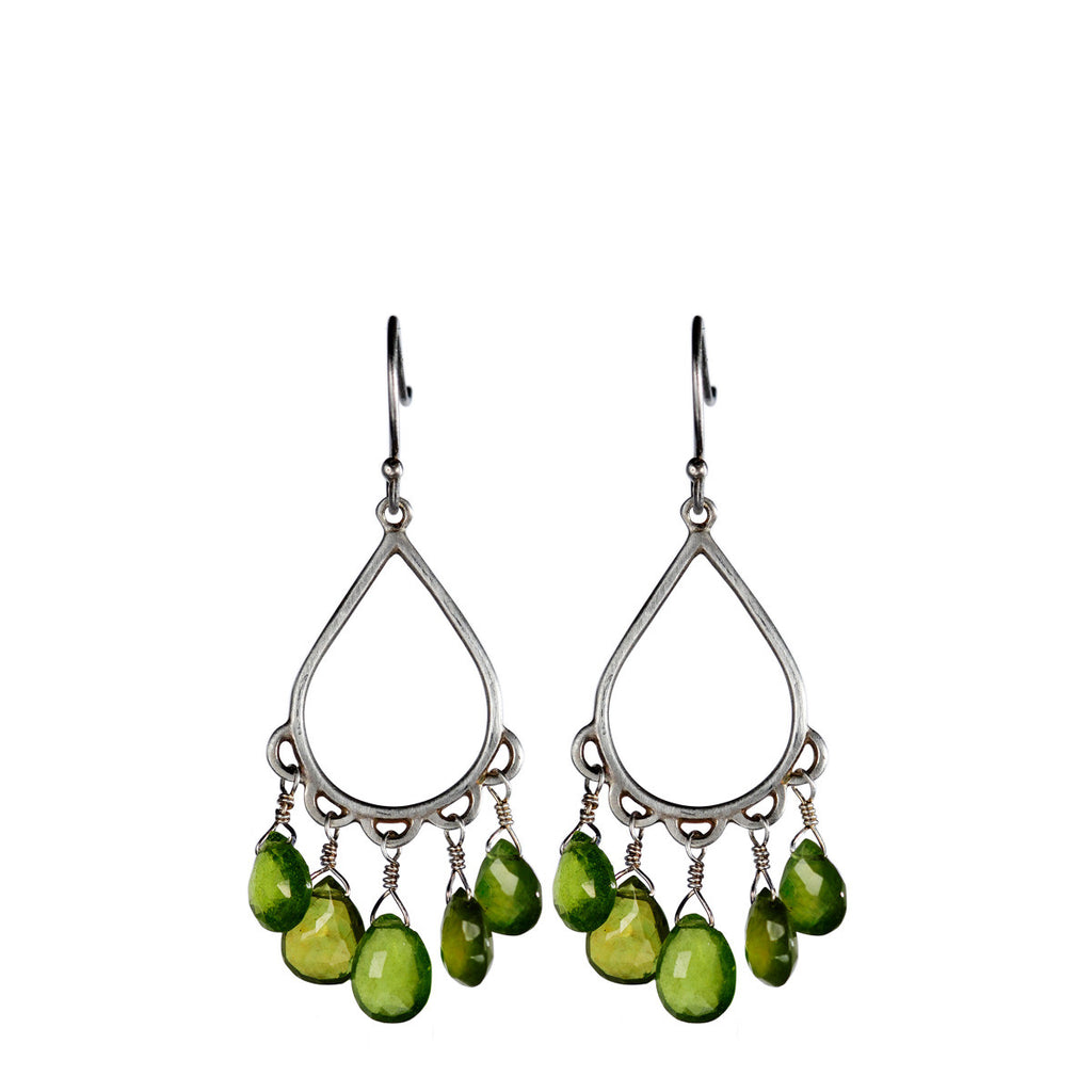 Sterling Silver Small Teardrop Earring with Vesuvianite