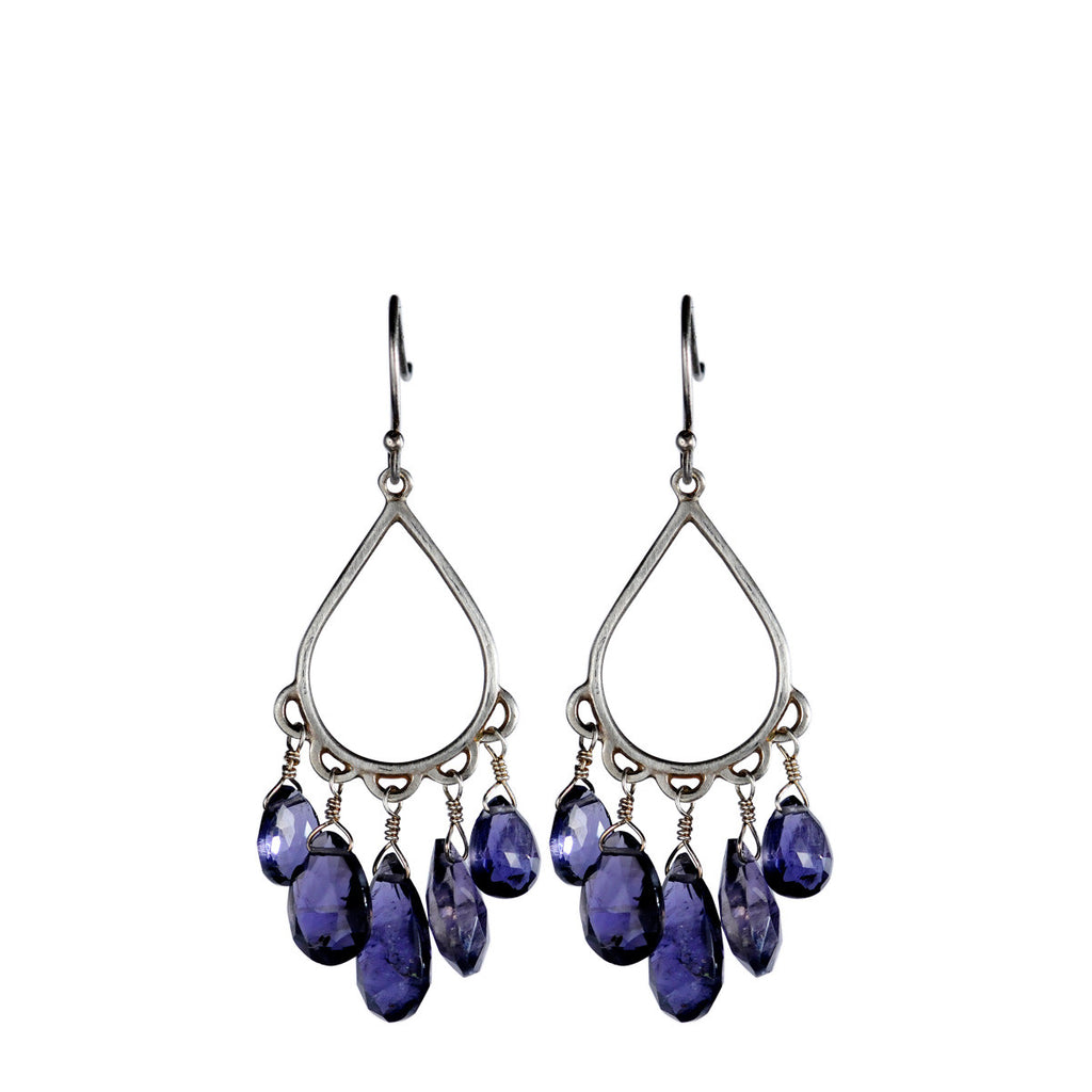Sterling Silver Small Teardrop Earring with Iolite