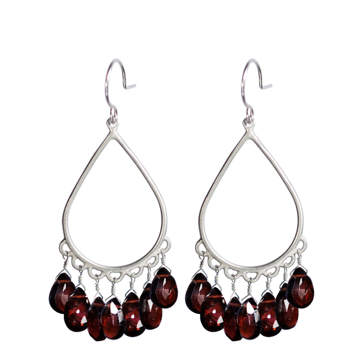 Sterling Silver Large Teardrop Earrings with Garnet