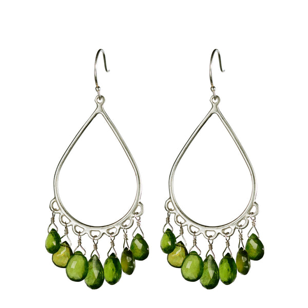 Sterling Silver Large Teardrop Earrings with Vesuvianite