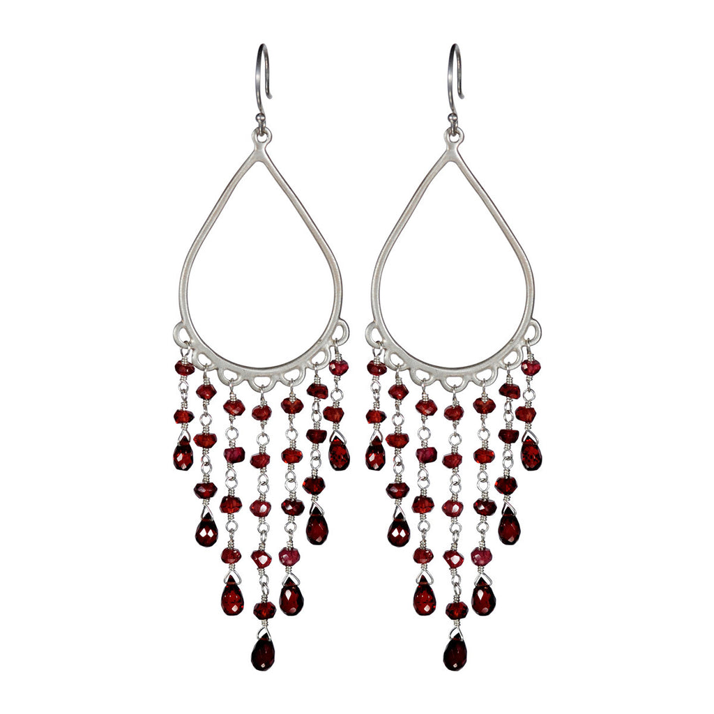 Sterling Silver Large Teardrop Fringe Earrings with Garnet