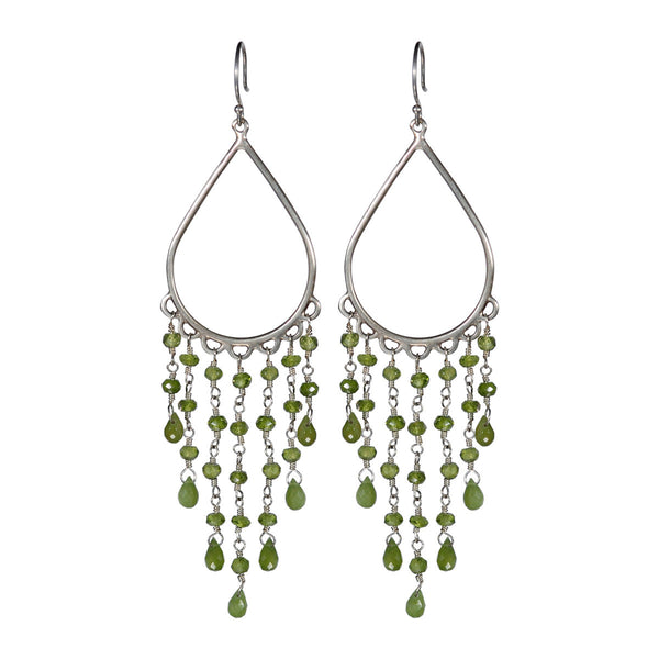 Sterling Silver Large Teardrop Fringe Earring with Vesuvianite