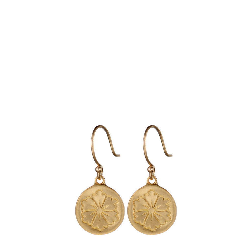 10K Gold Small Engraved Flower Earring