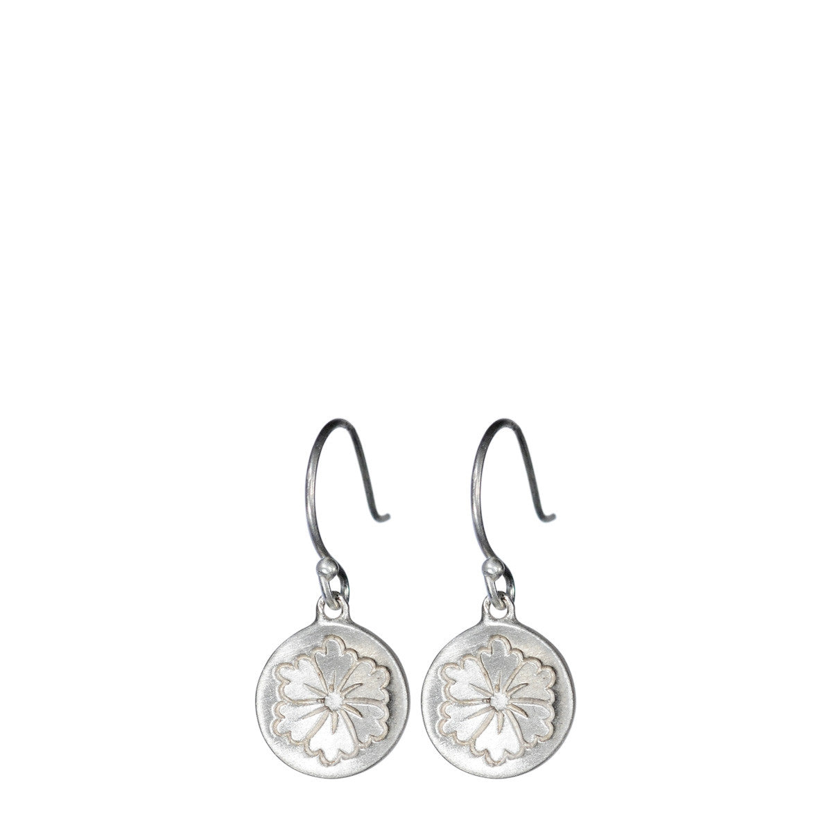 Sterling Silver Small Engraved Flower Earring