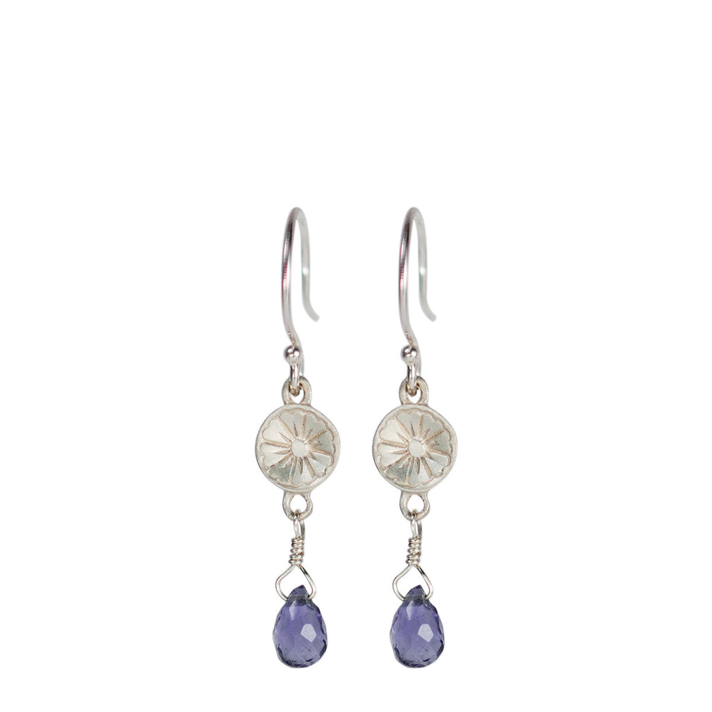 Sterling Silver Small Engraved Flower Earring with Iolite Bead