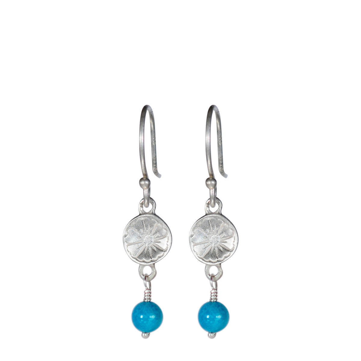 Sterling Silver Small Engraved Flower Earrings with Turquoise Bead