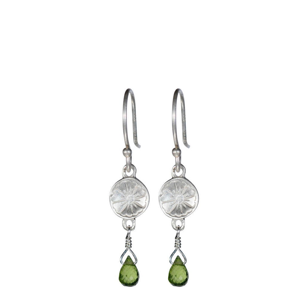 Sterling Silver Small Engraved Flower Earring with Vesuvianite Bead