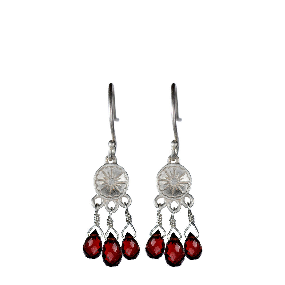 Sterling Silver Small Engraved Flower Earrings with Garnet Beads