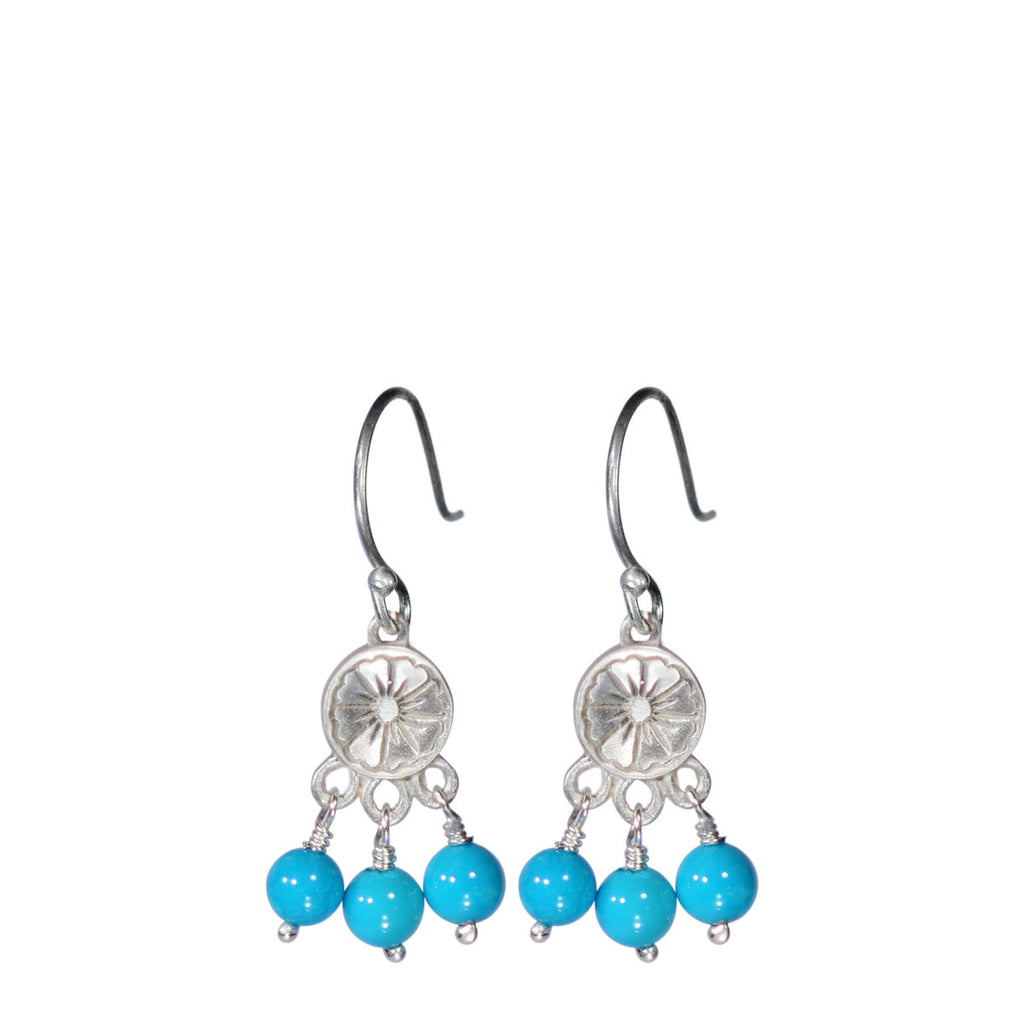 Sterling Silver Small Engraved Flower Earring with Turquoise Beads