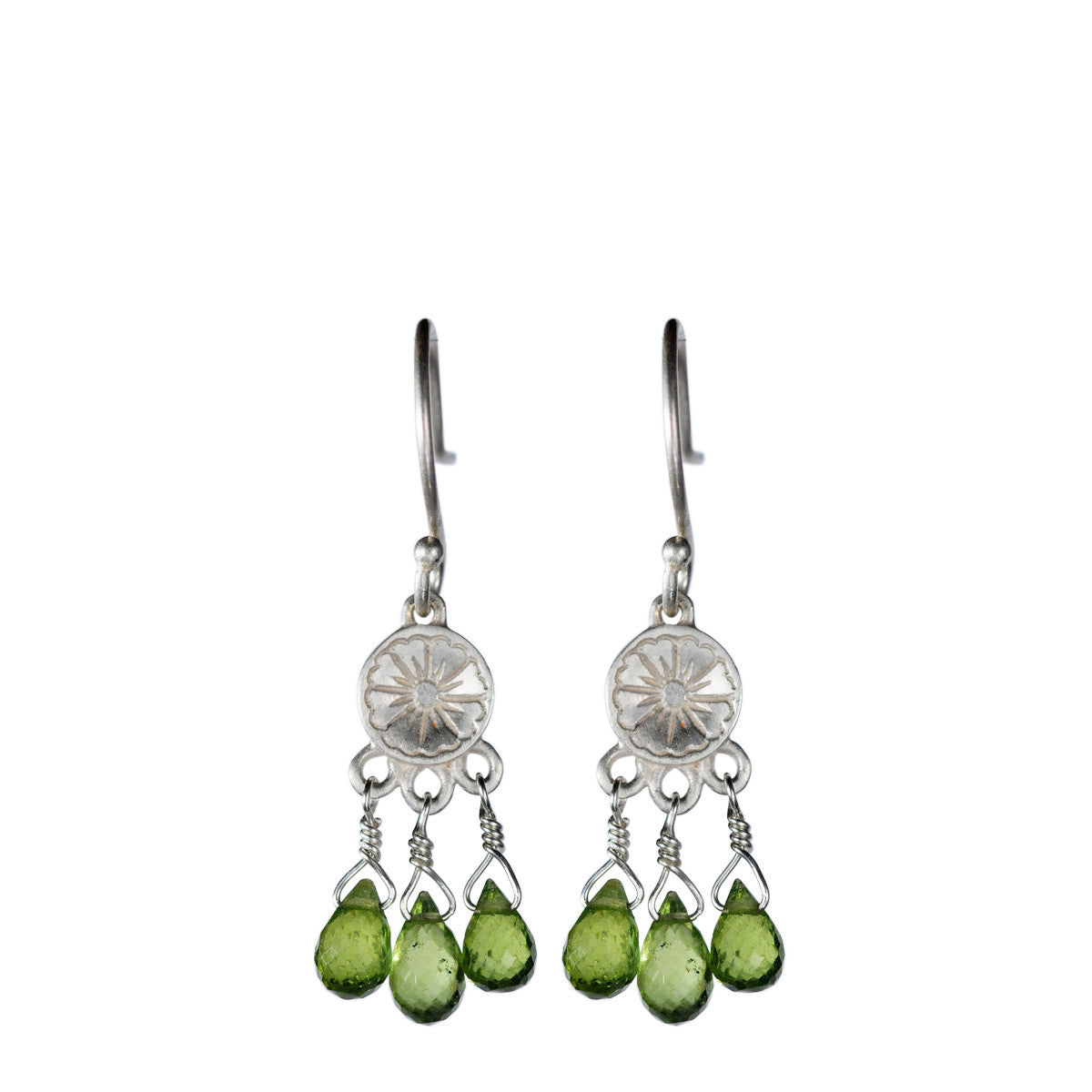 Sterling Silver Small Engraved Earring with Vesuvianite Beads