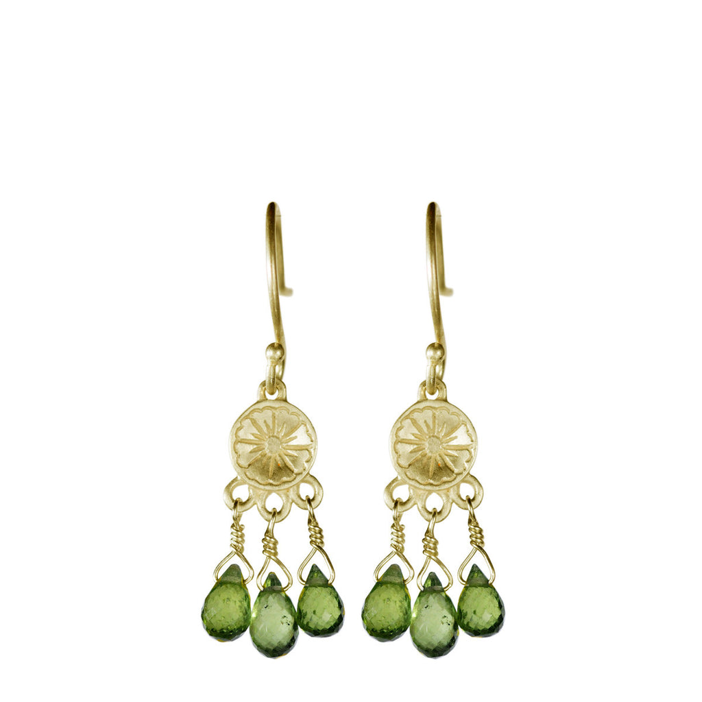 10K Gold Small Engraved Flower Earrings with Vesuvianite Beads