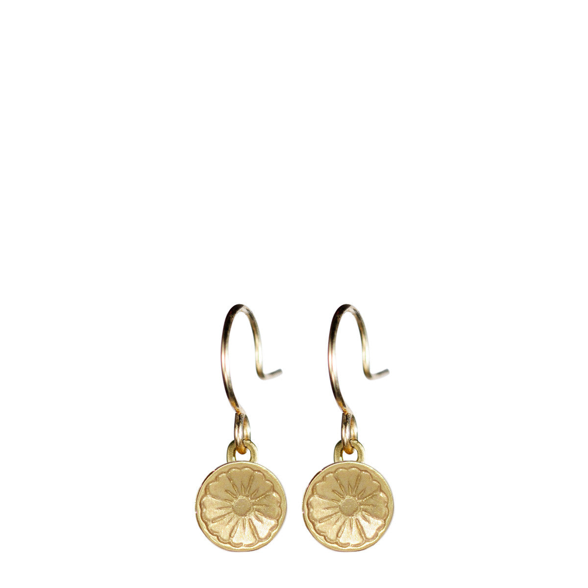 10K Gold Engraved Flower Earring