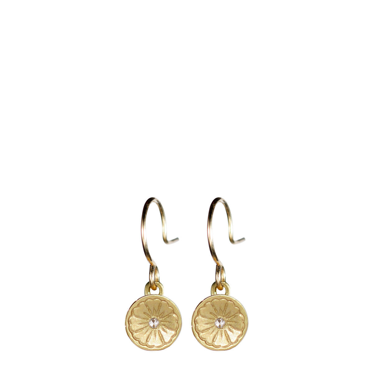 10K Gold Engraved Flower Earring with Diamond
