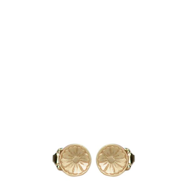 10K Gold Engraved Flower Stud Earrings