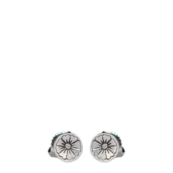 Sterling Silver Engraved Flower Stud Earrings