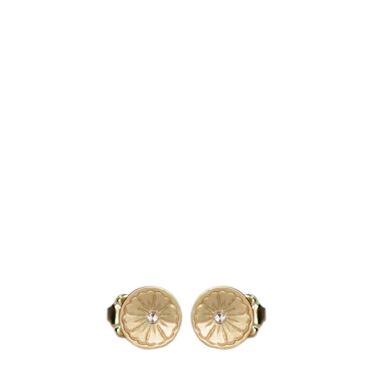 10K Gold Engraved Flower Stud Earrings with Diamonds