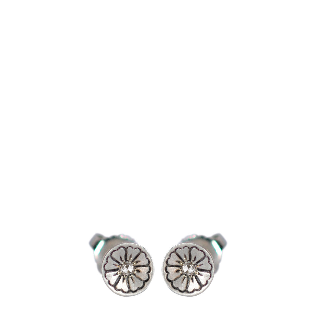 Sterling Silver Engraved Flower Stud Earrings with Diamonds