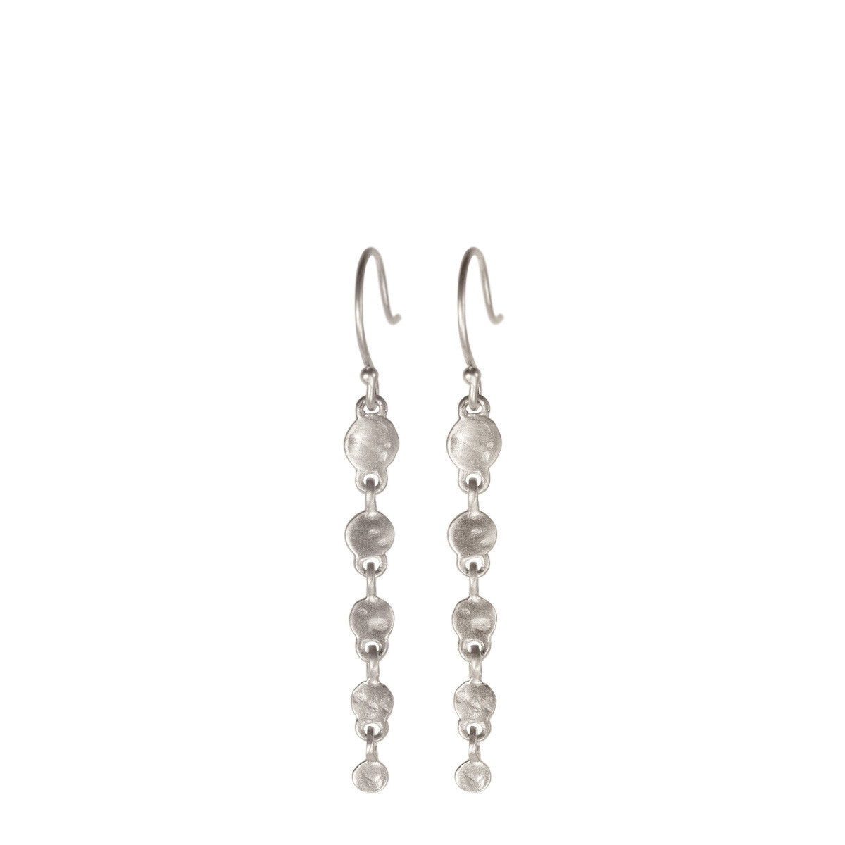 Sterling Silver Short Hammered Disc Earring