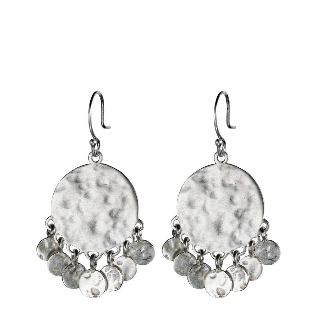 Sterling Silver Medium Hammered Disc Earring