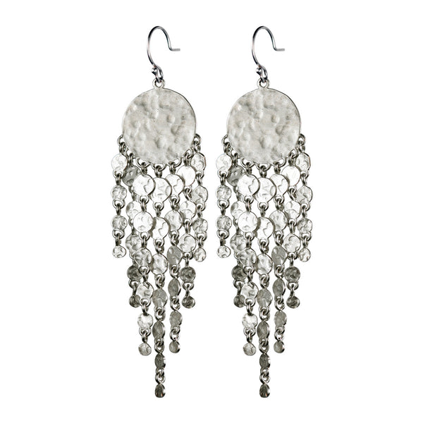 Sterling Silver Hammered Disc Earring with Fringe