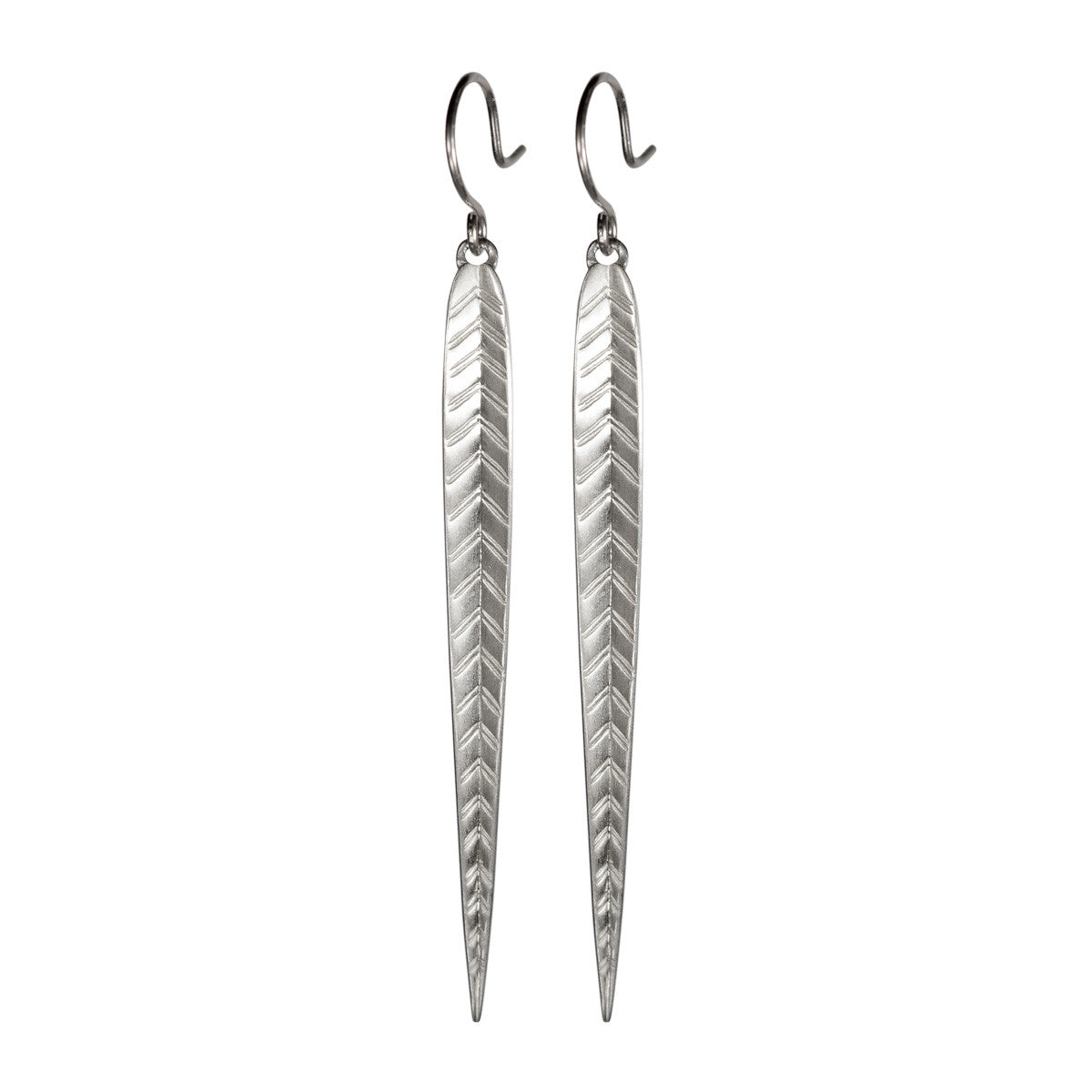 Sterling Silver Extra Long Leaf Earrings