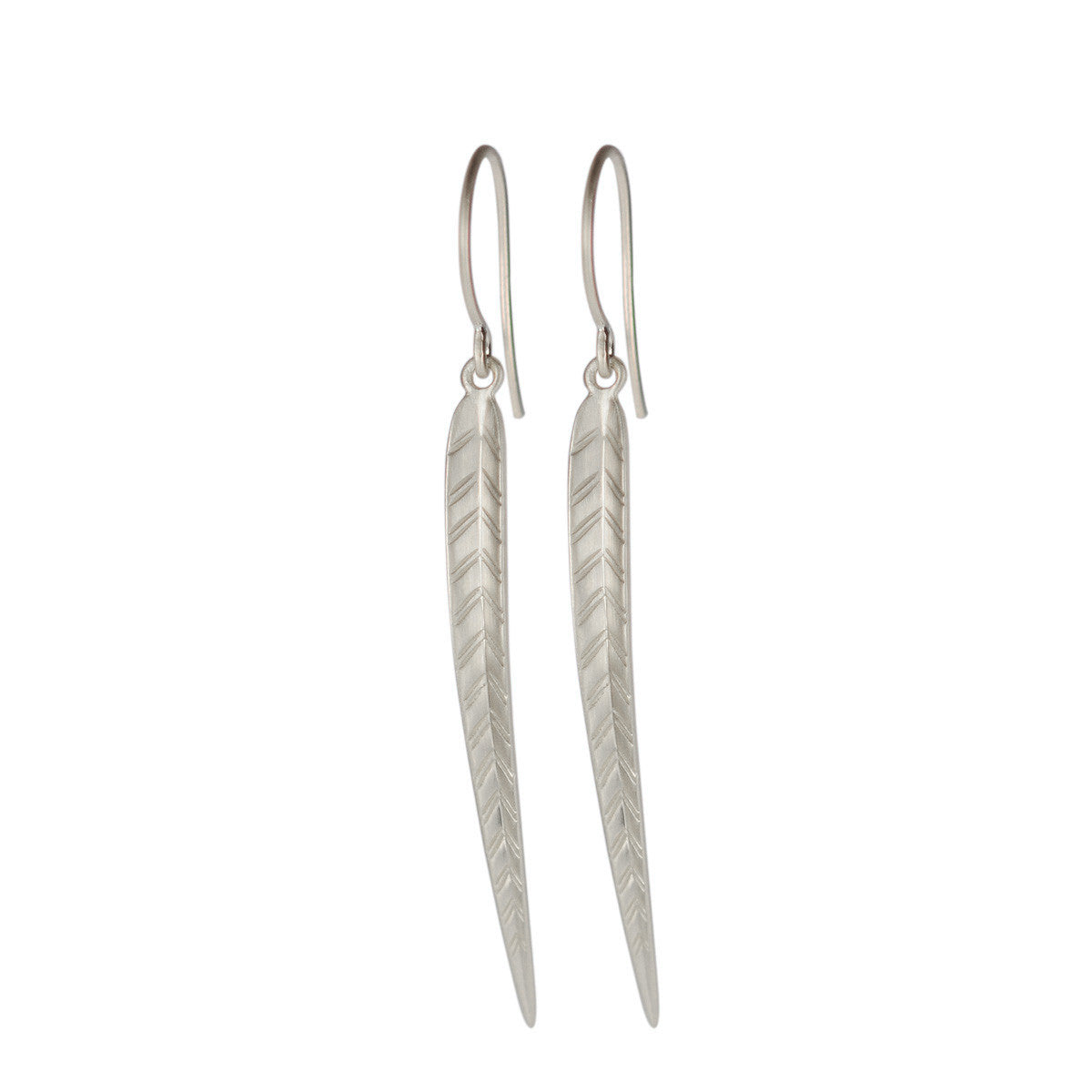Sterling Silver Long Leaf Earrings