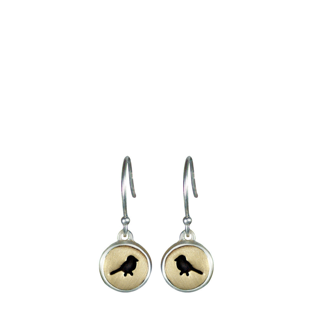 Sterling Silver & 10K Gold Bird Cut Out Earrings