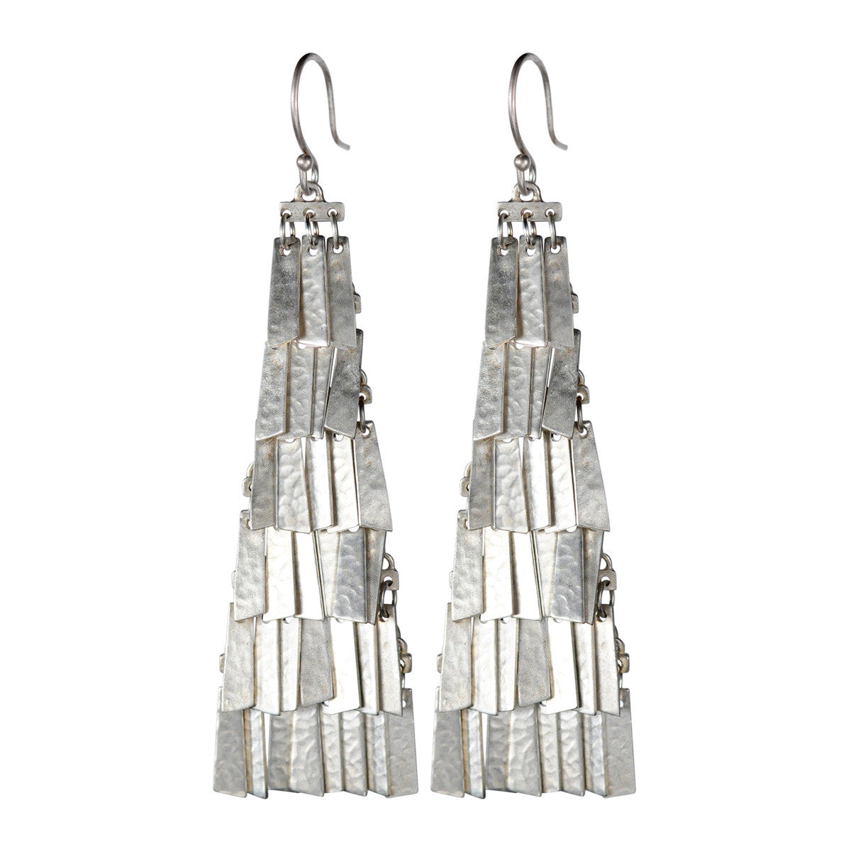 Sterling Silver Long Curtain Earrings
