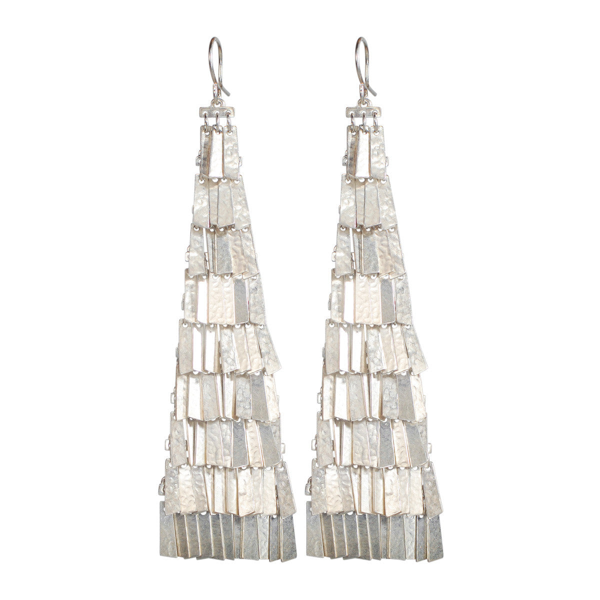 Sterling Silver Extra Long Curtain Earrings