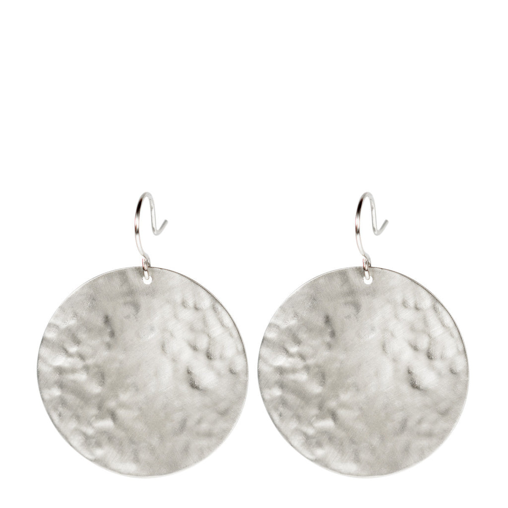 Sterling Silver Large Hammered Disc Earring