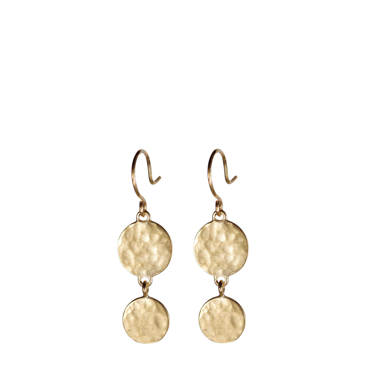 10K Gold Double Hammered Disc Drop Earrings