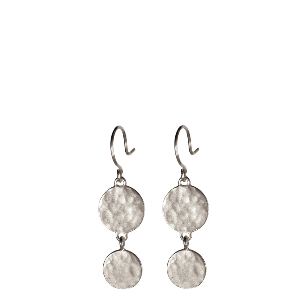 Sterling Silver Double Hammered Disc Drop Earring
