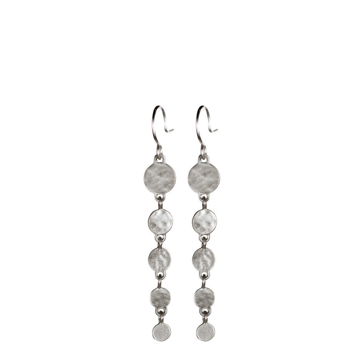 Sterling Silver Long Hammered Disc Earring