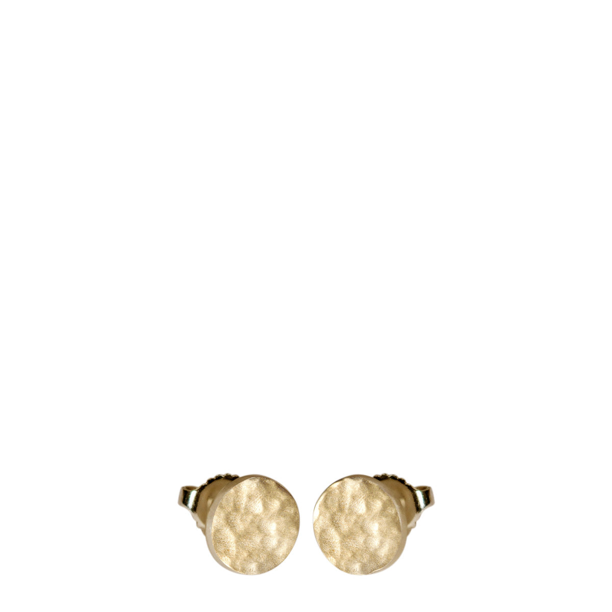 10K Gold Hammered Stud Earrings