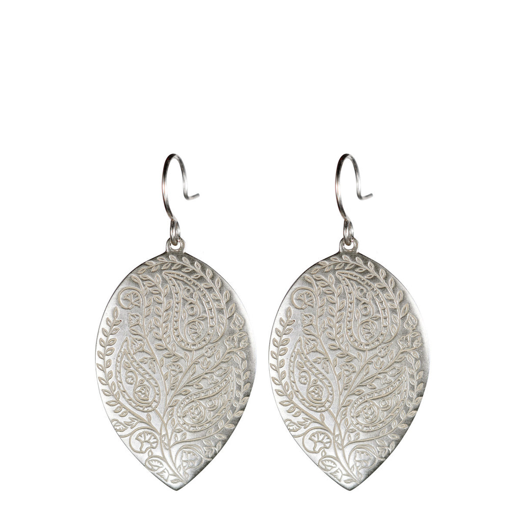 Sterling Silver Large Paisley Earrings