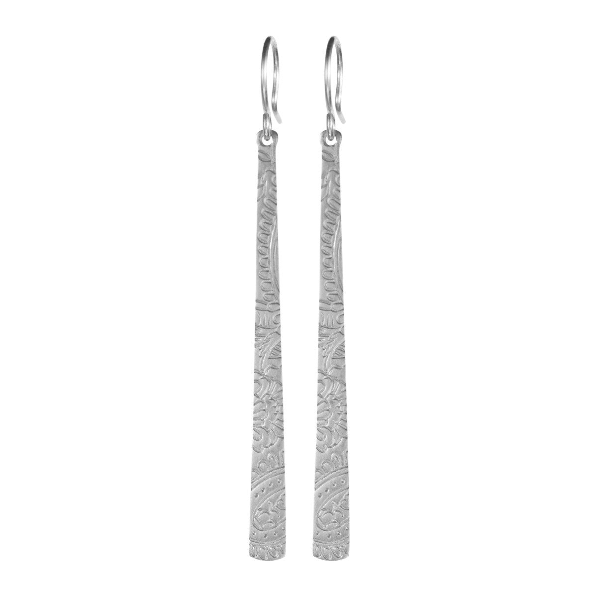 Sterling Silver Long Paisley Earrings