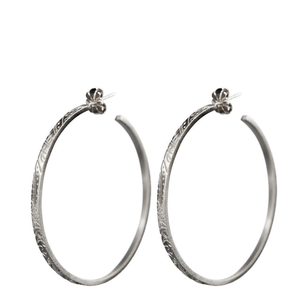 Sterling Silver Medium Paisley Hoop Earrings