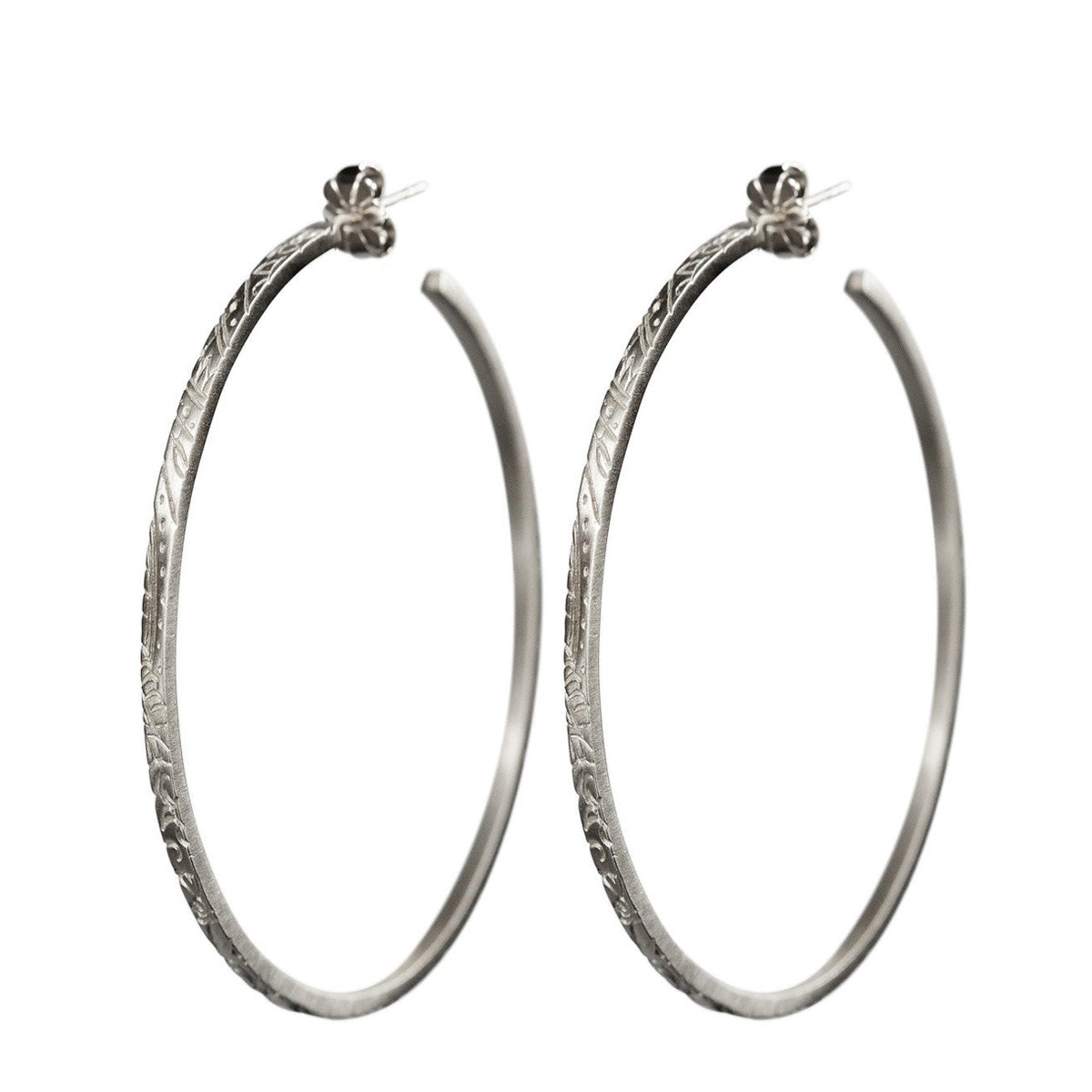 Sterling Silver Large Paisley Hoop Earrings