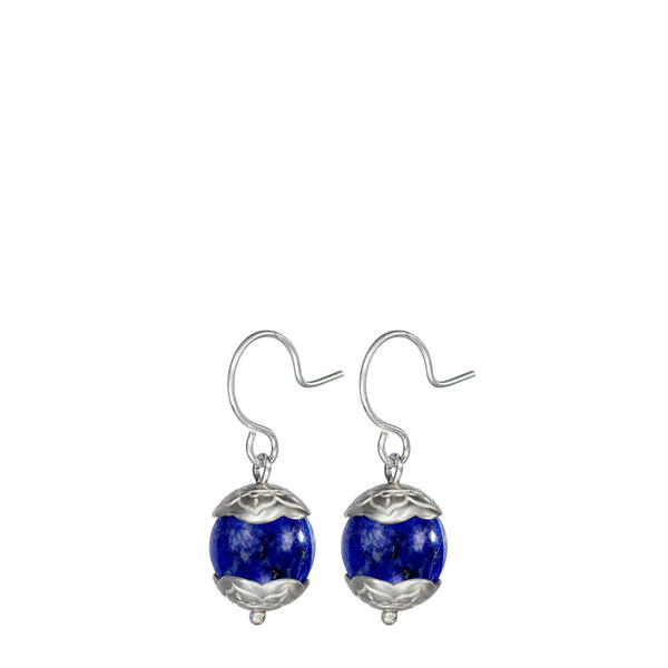 Sterling Silver Small Flower Cap Lapis Earrings
