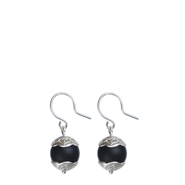 Sterling Silver Small Flower Cap Onyx Earrings