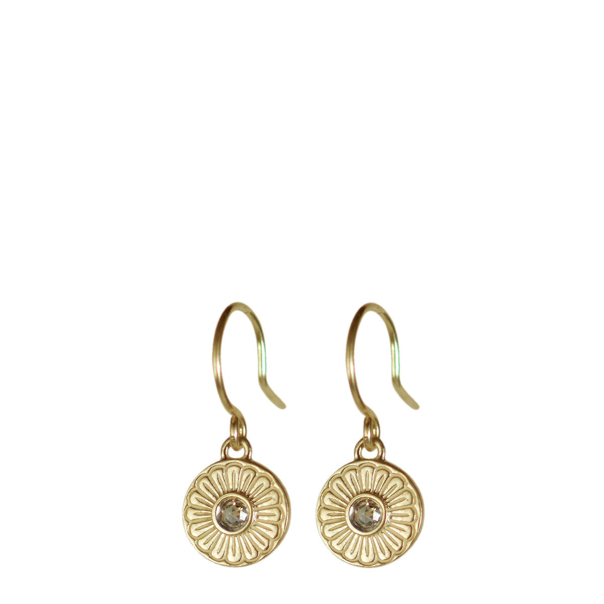 10K Gold Flower Drop Earrings with Brown Diamonds
