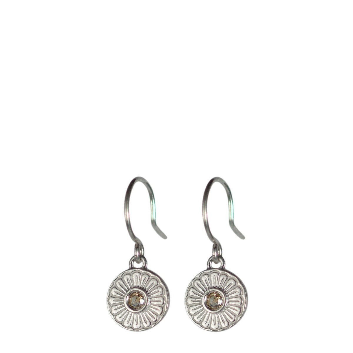 Sterling Silver Flower Drop Earrings with Brown Diamonds